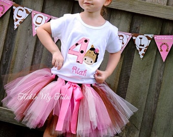 Birthday Horse Tutu Outfit-Birthday Pony Tutu Outfit-Cowgirl Birthday Tutu Outfit-Horse Party Outfit-Barnyard Bash Outfit *Bow NOT Included*