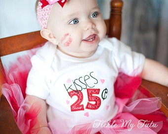 Valentine Kisses Tutu Outfit-Valentine's Day Pageant Outfit-My First Valentine's Day Outfit-Kissing Booth Tutu Outfit,*Bow NOT Included*