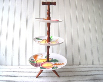 Atomic cupcake tower three tier dessert stand party tray mid century fruit