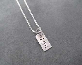 10K Rectangle Sterling Silver Running Necklace - 16, 18 or 20 inch Sterling Silver Ball Chain - Unisex Road Race Necklace - 10,000 Meters