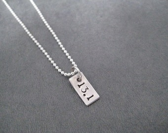 13.1 Rectangle Sterling Silver Running Necklace - 16, 18 or 20 inch Sterling Silver Ball Chain - Unisex Half Marathon Necklace - First Half