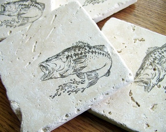 coasters, rustic, natural stone, tumbled tile, - big mouth bass, fish - set of 4 -