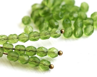 4mm Fire polished Matte Olive green czech glass beads, olivine faceted spacers, round, satin finish - 50Pc - 0969