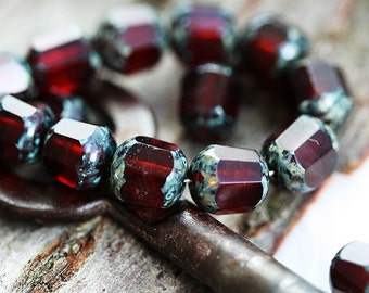 Picasso beads, Czech glass beads, Dark Red beads, fire polished, round cut, faceted - 8mm - 15Pc - 0389