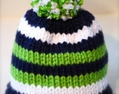 Seattle Seahawk Beanie for Christmas, Green, Blue  & White, 3 or 6 Stripe 12th Man Hat for Baby, Kids or Adults, Pom Pom, Football Fan Gear