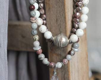 Gemstone Bib Necklace - Natural Stone Jewelry with Jasper, Pearls and White Turquoise