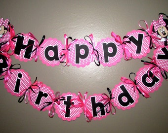 Minnie Mouse Birthday Banner - Pink and white polka dots Minnie Mouse Party