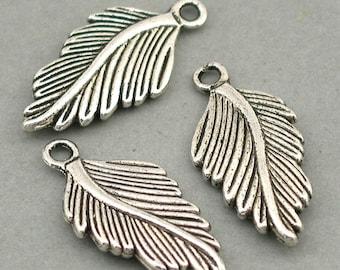 Feather Charms Antique Silver 4pcs pendant beads 15X30mm CM0145S