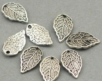 Leaf Charms Antique Silver 12pcs pendant beads 9X16mm CM0116S