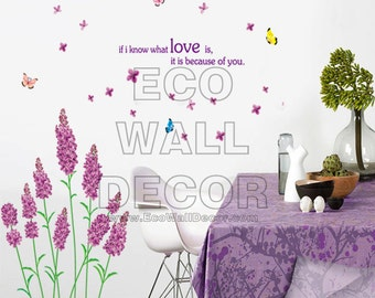 PEEL and STICK Removable Vinyl Wall Sticker Mural Decal Art - Purple Lavender Flowers in the Wind
