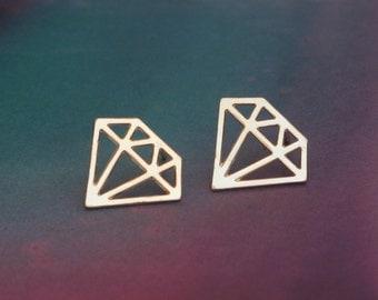 Gold Diamond Post Earrings , Diamond Shaped Studs , Everyday Geometric Studs in Shiny Gold