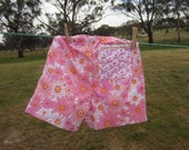 Girls shorts, Girls pink summer shorts made from vintage sheets size 4 - 5, girls spring shorts, cute pink and white bird pocket on the rear