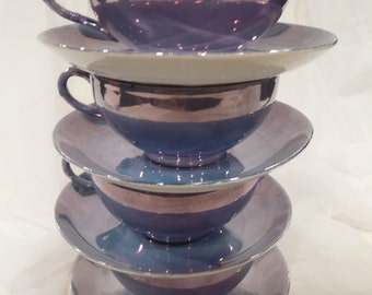 Blue Lustreware China Cups and Saucers Vintage