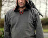 Ready to ship XXL - Elf hoodie in Gray - hippy  hoodie - Psy clothing- festival - rave - Medieval hoodie- SCA clothing