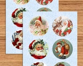 Christmas Stickers ~ Vintage Style Santa, Round Christmas Stickers, Envelope Seals, Scrapbook Embellishments, Goody Bag Labels