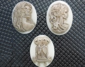 Handmade Lolita Skeleton Conjoined Twins Zombie Cameo Cabochon 9 Pieces 40 x 30 mm Gothic Steampunk