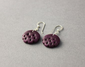 purple scalloped earrings tribal earrings polymer clay earrings aubergine