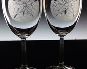 etched Wine Glass set of two , hand engraved custom glassware Wine glasses