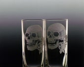 skull shot glass set of 2, skulls with roses, clear glass engraved custom barware glassware, gift ideas halloween day of the dead