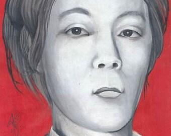 portrait of cannibal killer issei sagawa, digital download for printing