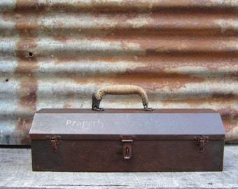Vintage Metal Tool Box Painted Rusted Metal Industrial Tool Caddy Rusty Metal Box with Inserts