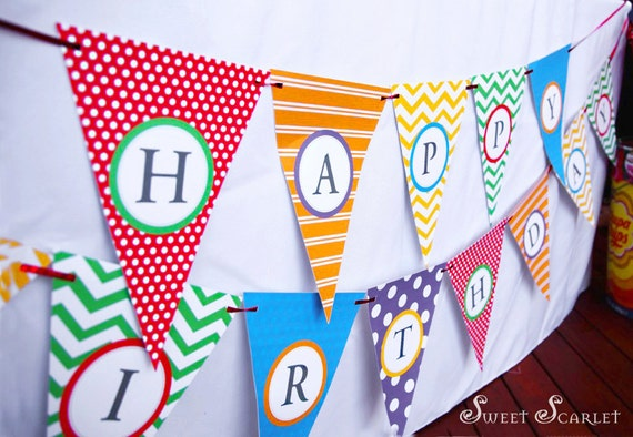 RAINBOW Party Bunting or Banner plus Mini Banner - DIY Printable ...
