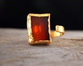 Gold Vermeil Carnelian Ring - Asymmetrical Modern Ring - 24 K. Gold Vermeil - Sterling Silver - Adjustable - Ready to Ship - serpilguneysu