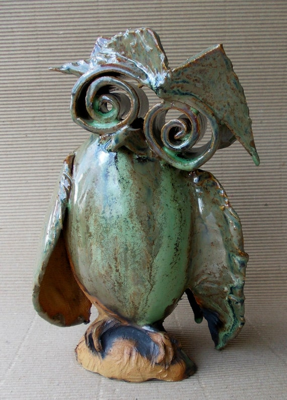 Cute Wise Owl Home Decor Owl Ceramic Sculpture Fan Art