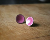 Orchid purple/pink concave enamel post earrings