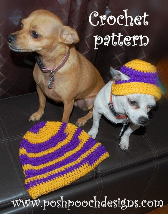 Instant Download Crochet Patterns - Team Spirit Hats - 2 Patterns - Sports Caps for Human and Dogs