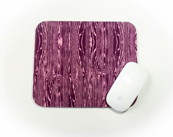 Mouse Pad / Faux Wood Grain Purple Orchid / Home Office Decor / Mousepad / Slightly Smitten Kitten