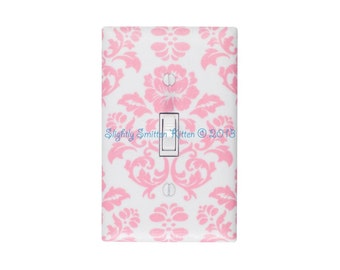 Damask Light Switch Plate Cover / Pink and White / Baby Girl Nursery Decor / Teen Girl / Bathroom