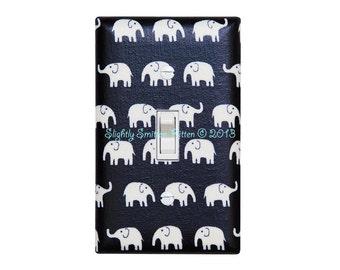 Black White Elephant Light Switch Plate Cover / Baby Gender Neutral Nursery Decor / Kids Room / Fumika Oishi Tiny Elephant