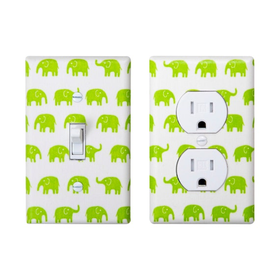 Lime Green Elephant Light Switch Plate Outlet Cover Set Of 2