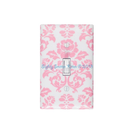 Damask Light Switch Plate Cover Pink And White Baby Girl Nursery