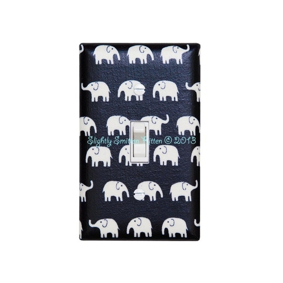 Black White Elephant Light Switch Plate Cover Baby Gender