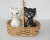 goebel, hummel collector,  black and white salt and pepper shakers cats, w. goebel, w. germany, original basket
