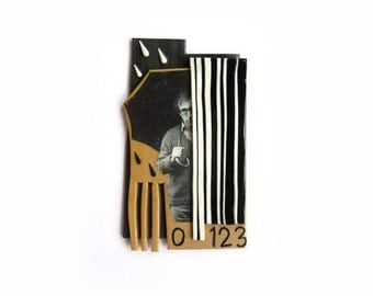 Woody Allen brooch polymer clay, unusual, mixed media, collage