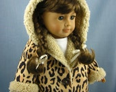 18 Inch Doll Clothes - Animal Print Hooded Jacket - American Girl type Doll - Doll Coat - Leopard Print Coat