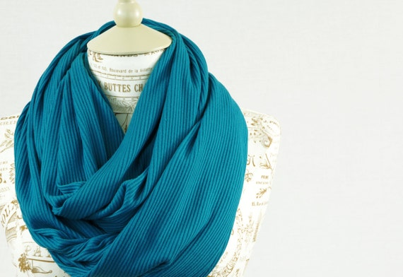 Teal Infinity Scarf Sweater Knit Ribbed Blue Long Peacock Women ...