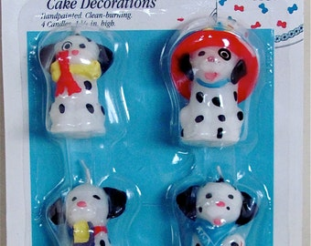 "Dalmatian Dog Candles, Set of 4, 1-3/4"" tall--Cute!"