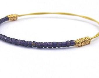 Beaded Bracelet // Guitar String Jewelry // Gold Purple Seed Bead Jewelry // Eco-Friendly Jewelry // Bridesmaid Gift // Friendship // Music