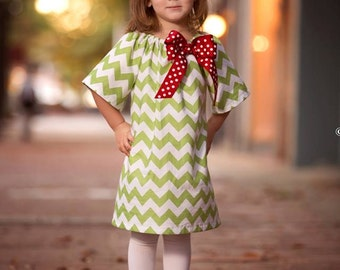 Christmas Chevron Peasant Dress - Girl, Toddler Girl - Available in size 5T, 6, 7/8 - Green Chevron with Red Bow