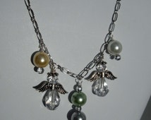 Clear Crystal Angel Charms with Pastel Colored Glass Pearl Dangles on a Silver Chain