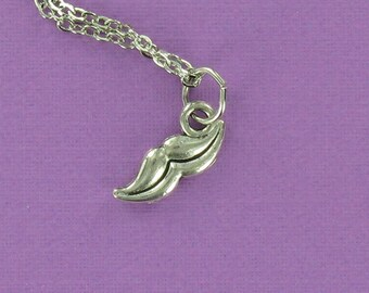 TINY MUSTACHE Necklace - Pewter Charm on a FREE Plated Chain