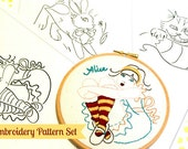 Alice in Wonderland embroidery pattern set