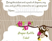 Monkey Baby Shower Diaper Raffle Card 2 per 4x6 - Girl