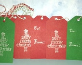 Pack of Five Christmas Gift Tags in Red or Green Handmade Gift Tags