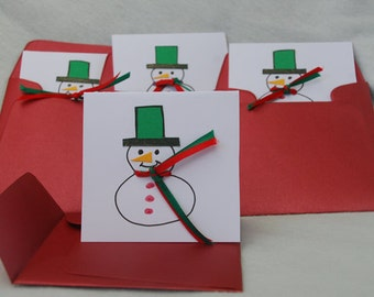 Pack of Four Small Snowman Cards Handmade Cards Hand Drawn