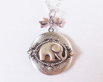 Lucky Elephant  Elegant Gothic  Locket:antiqued Silver  Elephant Locket --- silver locket.Valentine's Gift Mother's Day gift